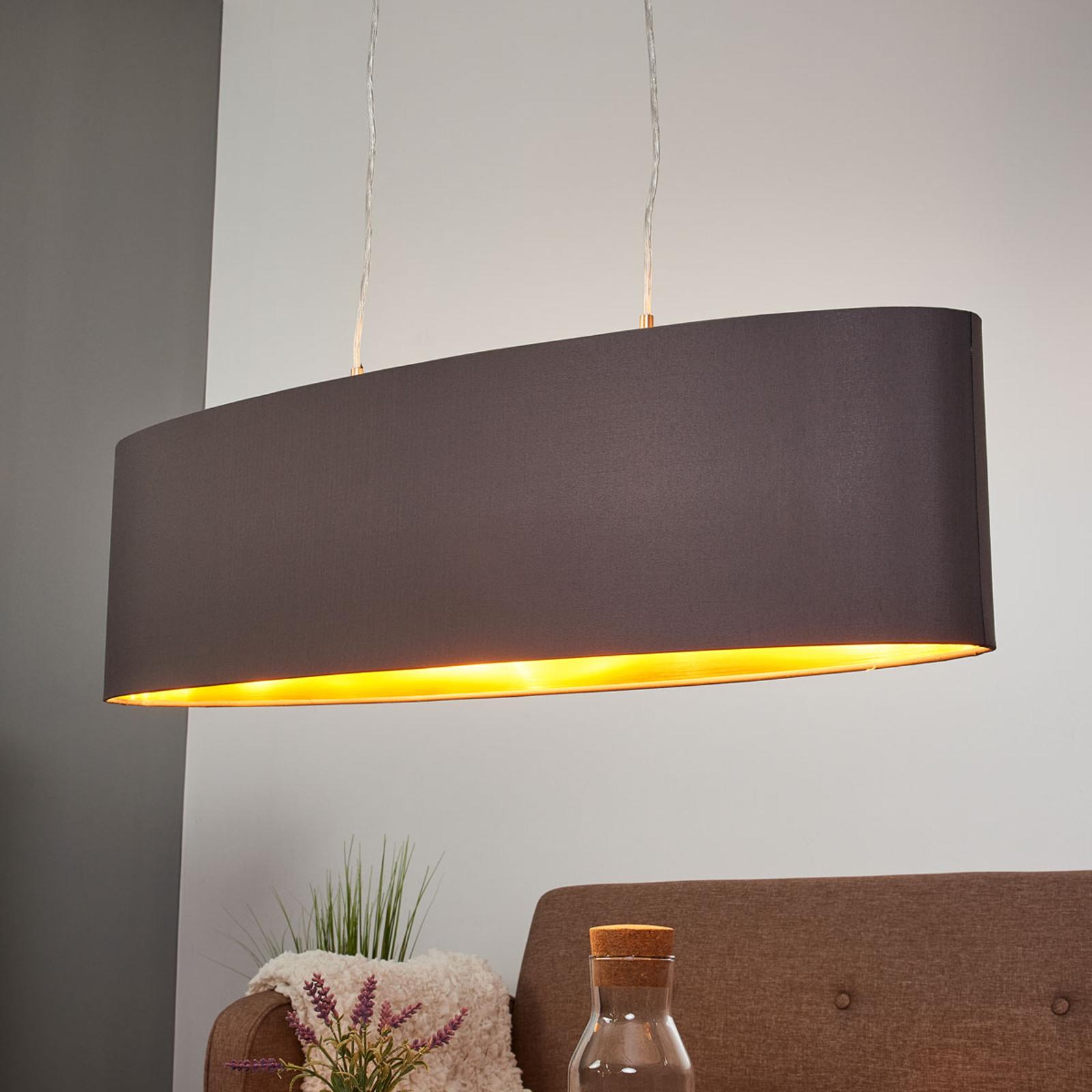 Goud-zwarte stoffen hanglamp Lecio