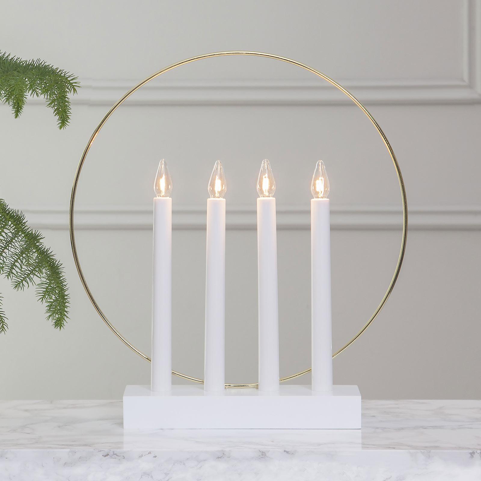 Świecznik okienny Glossy, Ring, 4-pkt. biały