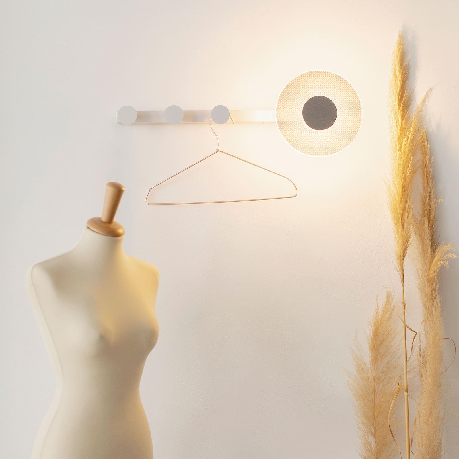 LED wandlamp Venus met kledinghaak, wit