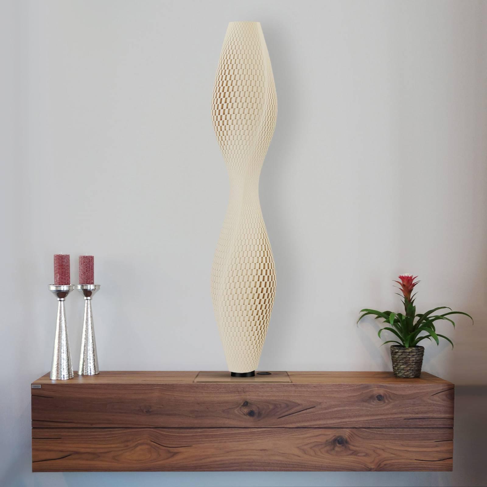 LED vloerlamp vlechtwerk Lava, 75cm, beige