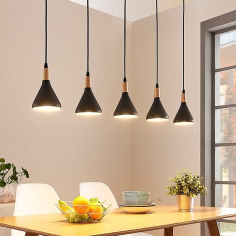 LED-hänglampa Arina med fem svarta skärmar