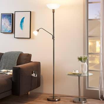 Nickelfarbener LED-Deckenfluter Jost mit Leselicht