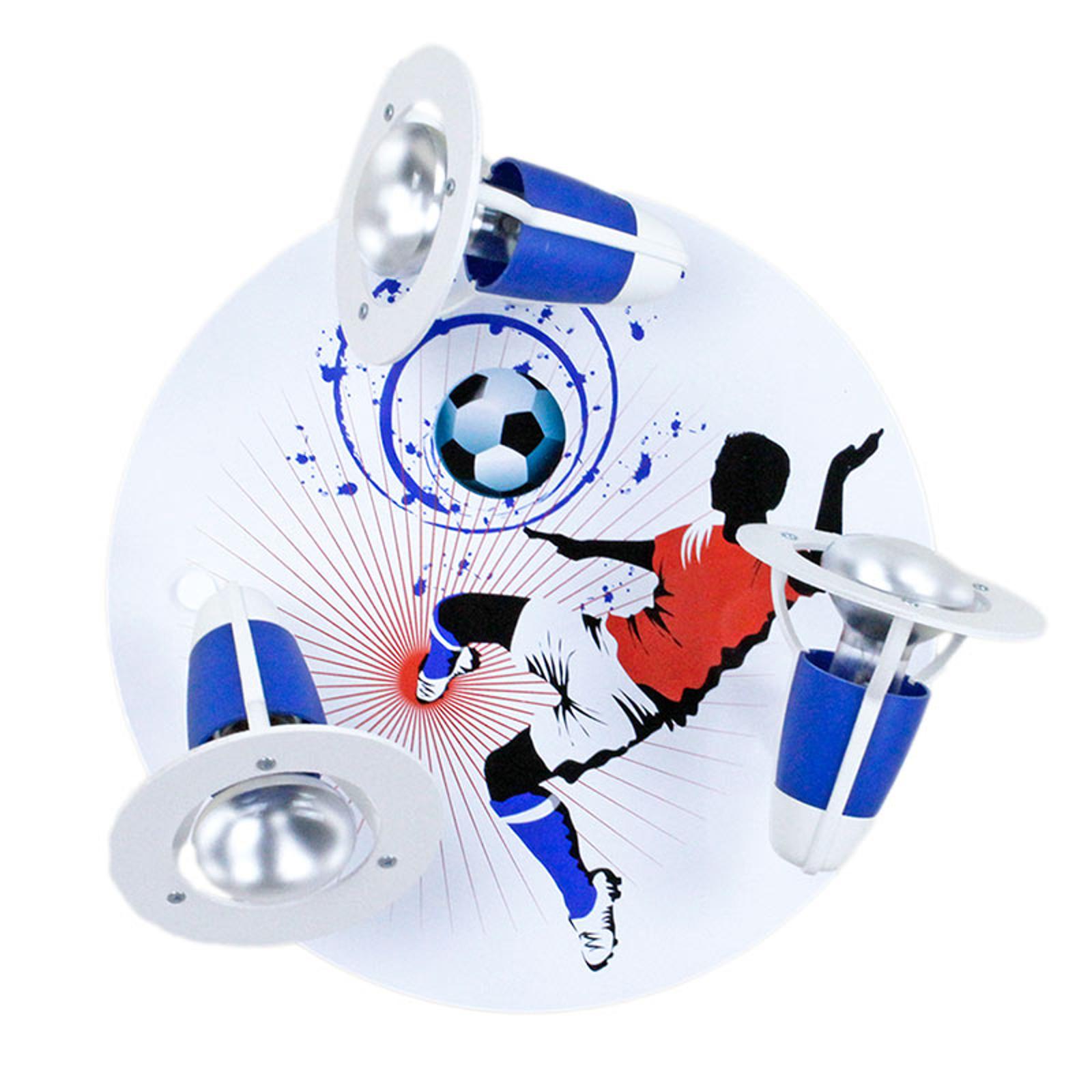 Plafondlamp Soccer, 3-lamps, blauw-wit