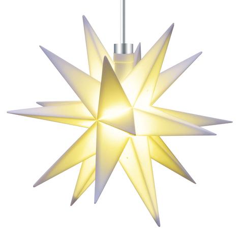 Hvit, 18-takket stjerne 12 cm