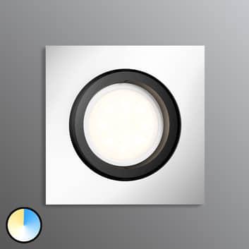 Philips Hue LED-Einbauspot Milliskin eckig, alu