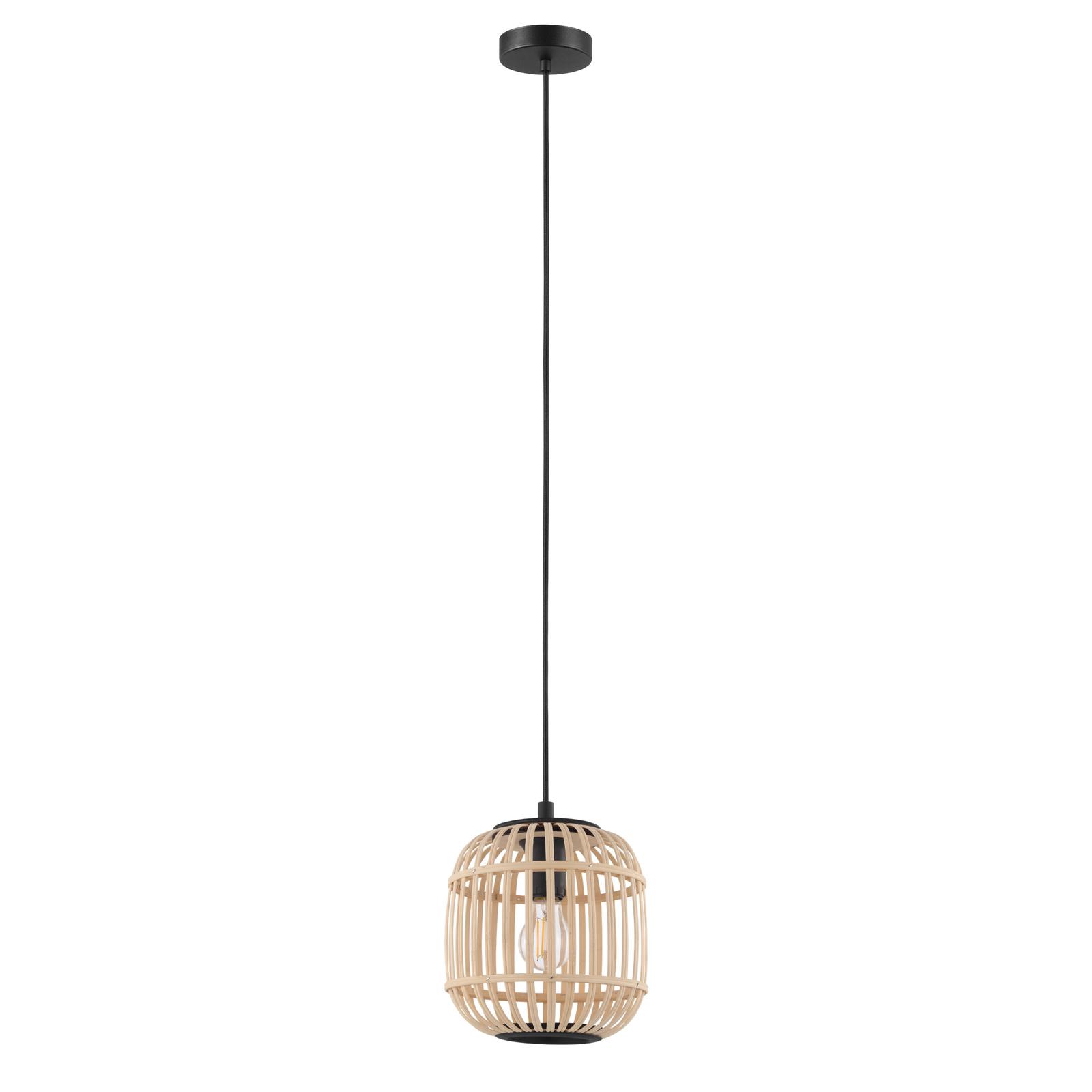 Lampa wisząca Bordesley z drewnianym kloszem 21 cm