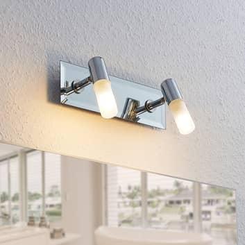 Foco de pared para baño Zela, 2 luces en cromo