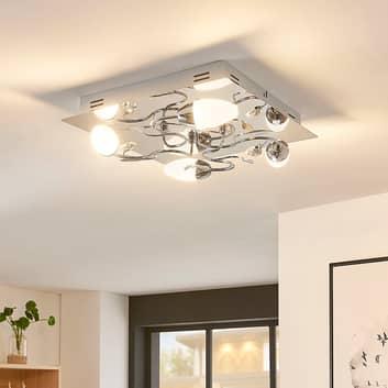Firkantet, LED-loftlampe Mischa, 3 trins dæmpbar
