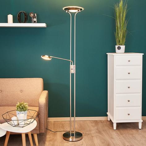 Nickelfarbener LED-Deckenfluter Aras