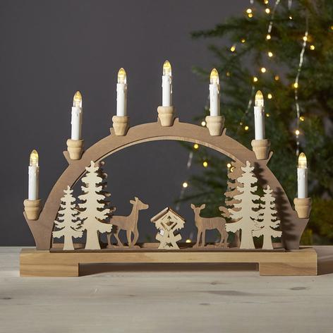 Fauna LED vánoční oblouk, světlé a tmavé dřevo