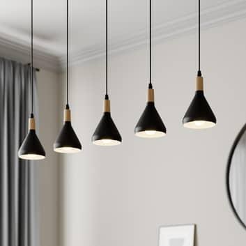 LED-pendellampe Arina med 5 svarte skjermer