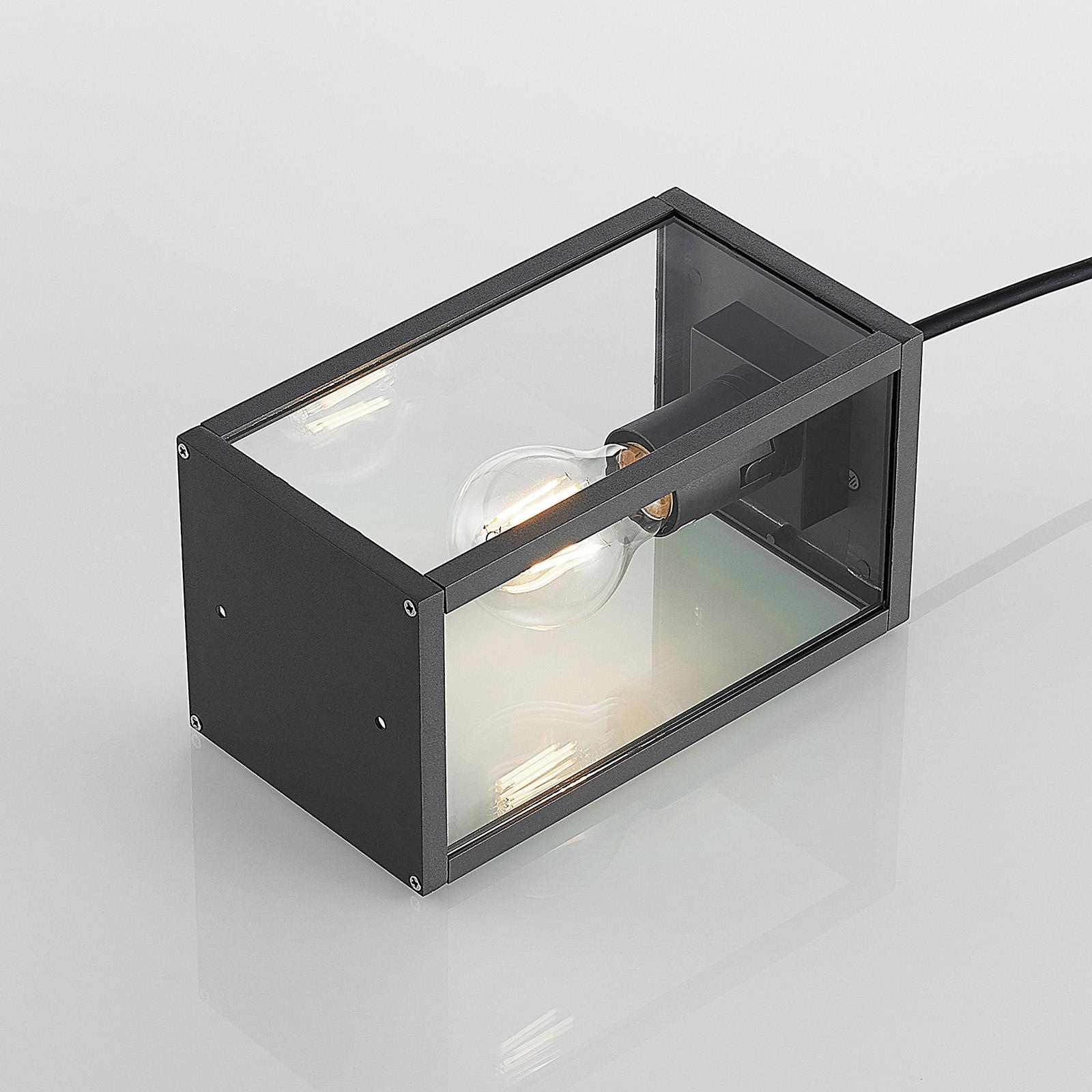 Außenhängelampe Filimon Eckig Käfig Dunkelgrau Glas E27 Lindby Außenleuchte IP44
