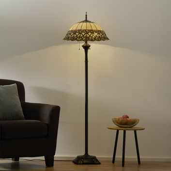 Frieda - lampadaire avec abat-jour Tiffany