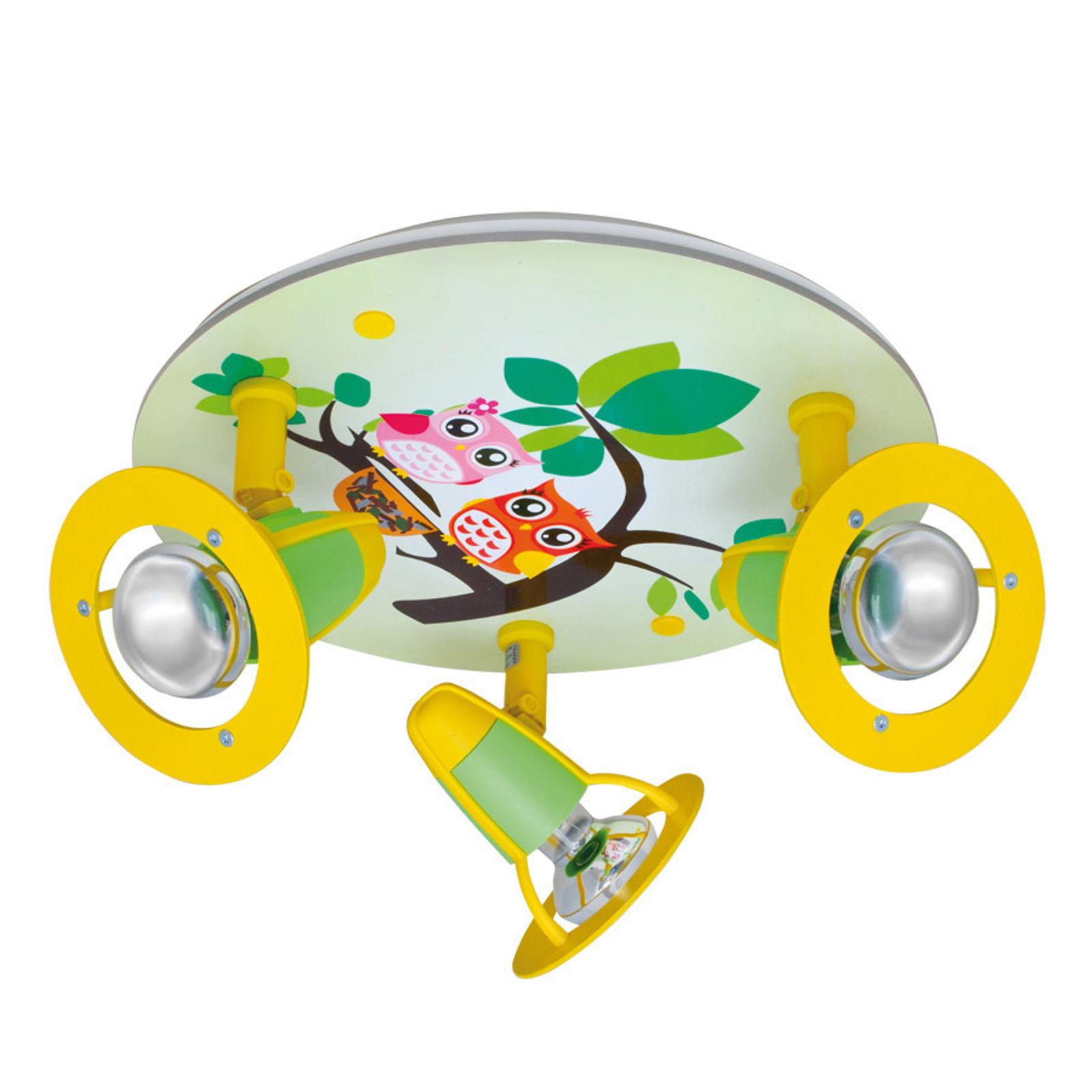 Plafondlamp Uil voor de kinderkamer, groen-geel