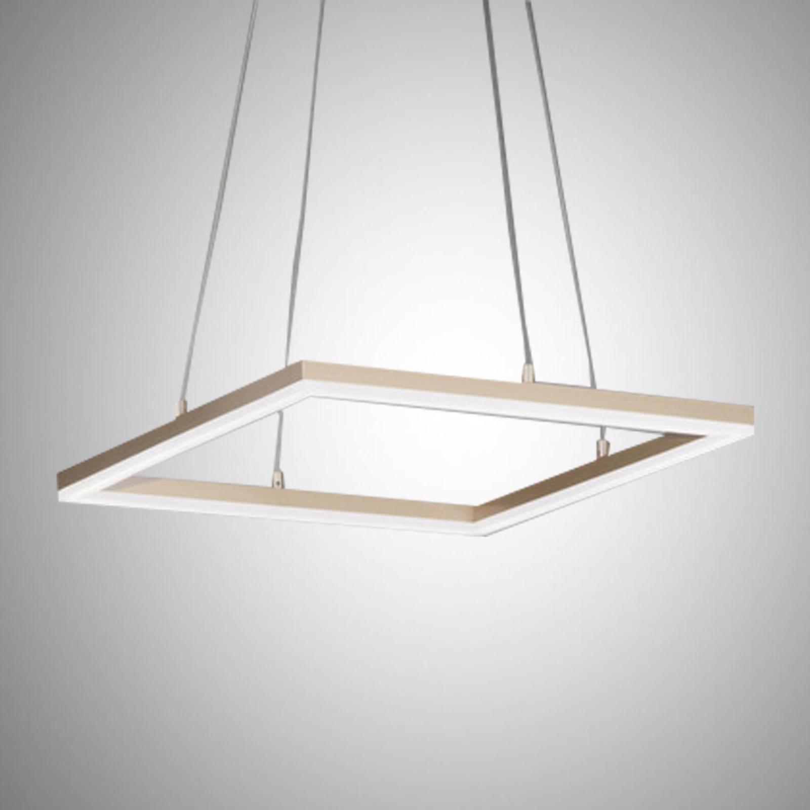 LED-Pendelleuchte Bard, 42x42cm in Mattgold-Finish