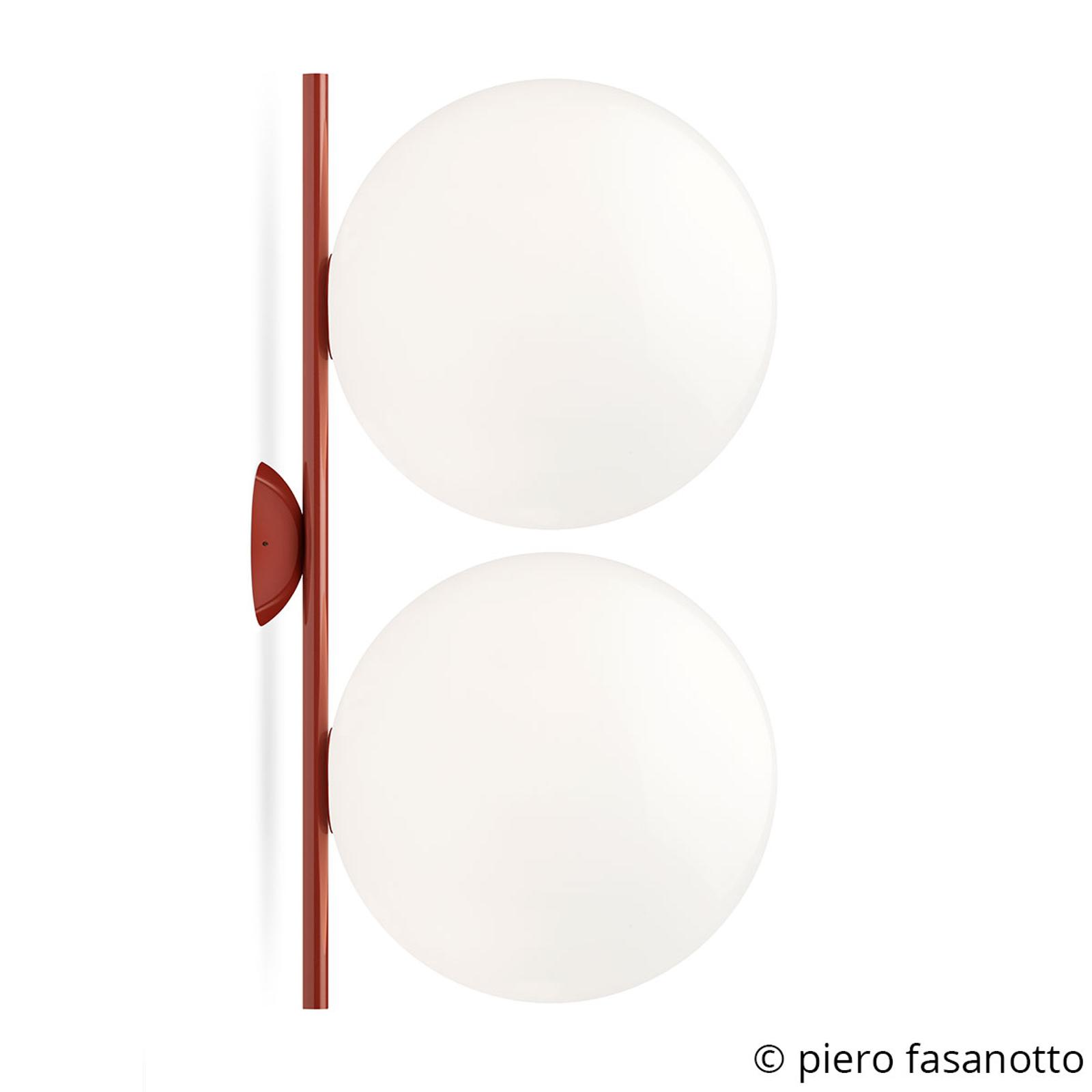 FLOS IC C/W2 Double Wandleuchte rot Ø 30 cm