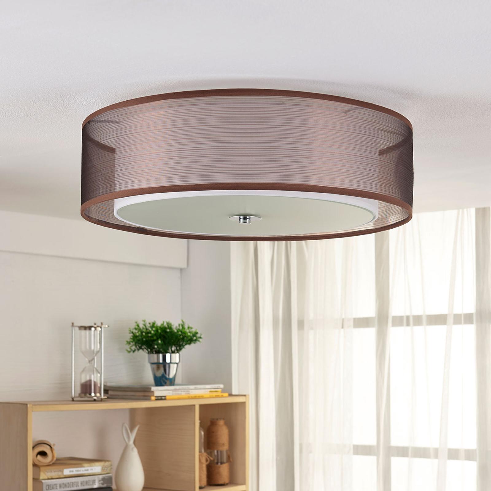 Braune LED-Stoffdeckenlampe Tobia, easydim kaufen