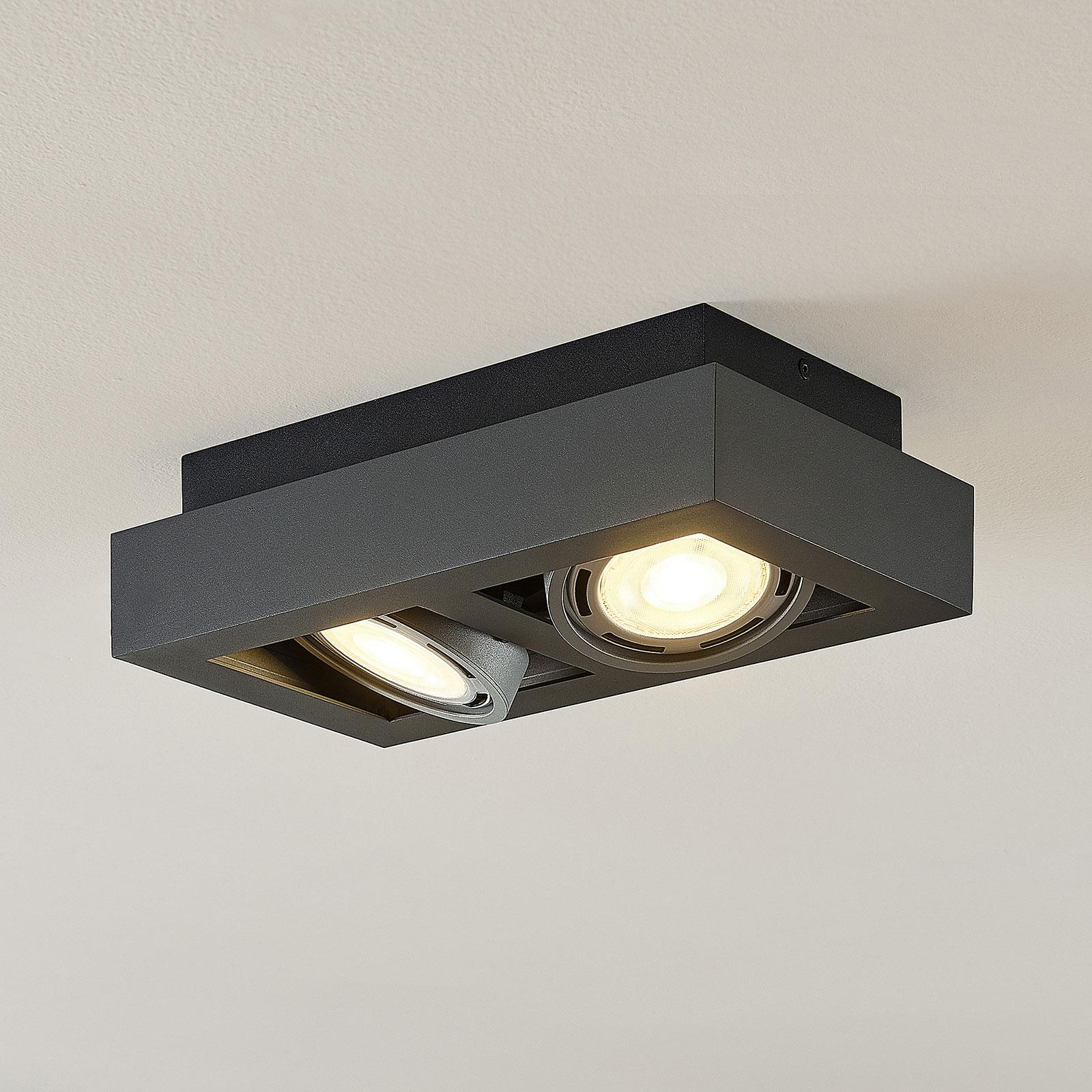 Spot pour plafond LED Ronka, 2 lampes, gris foncé