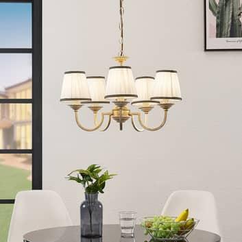 L/üster H/ängelampe - Pendelleuchte Lampe Deckenleuchte in Bronze aus Textil u.a Landhaus, Vintage, Rustikal f/ür Wohnzimmer /& Esszimmer 5 flammig, E14, A++ Lindby Kronleuchter Lumiel