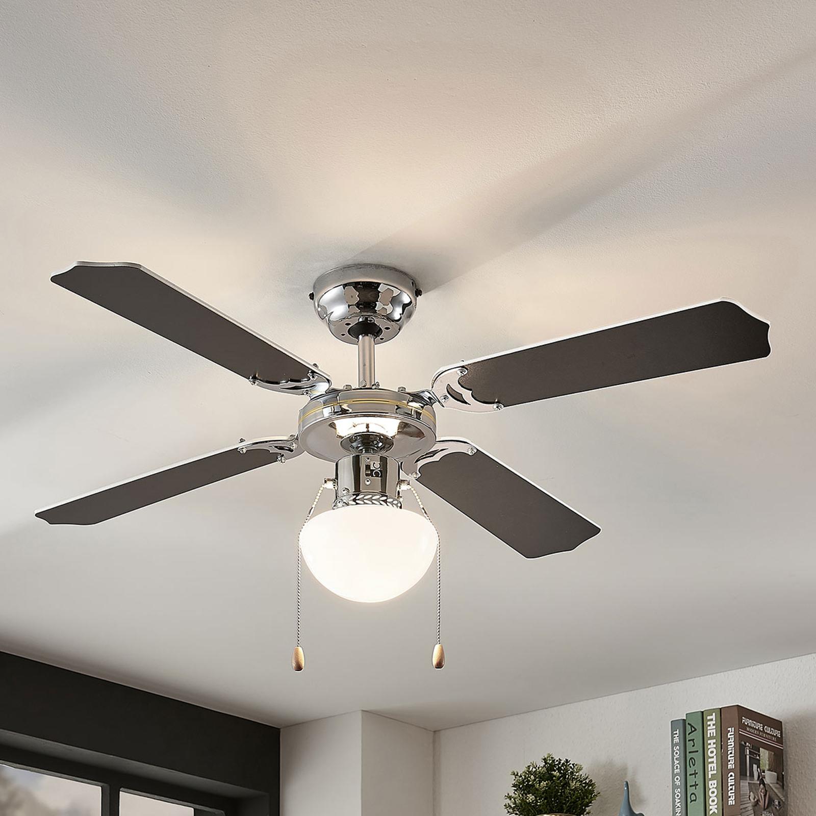 Plafondventilator Joulin, verlicht, zwart/wit