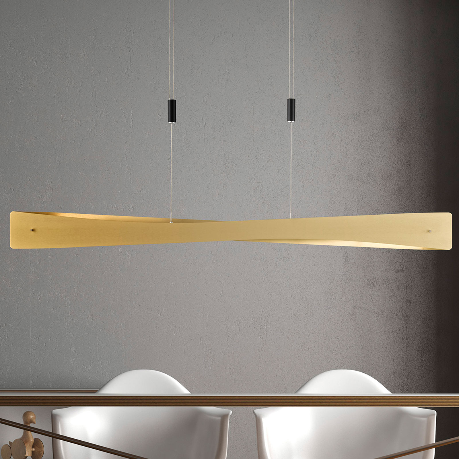 Lucande Lian LED hanglamp, messing, zwart