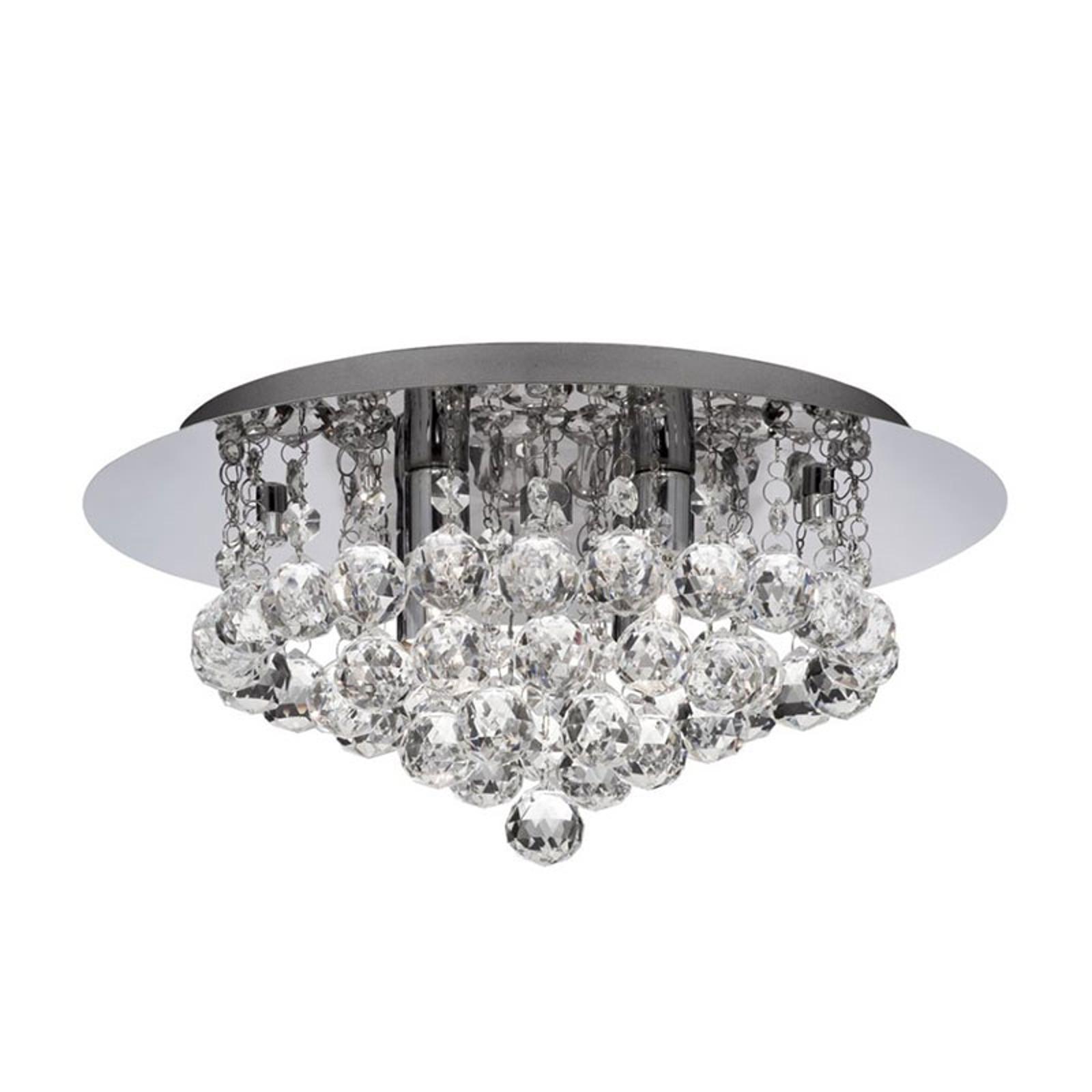Lampa sufitowa Hanna chrom kryształowe kule, 35cm