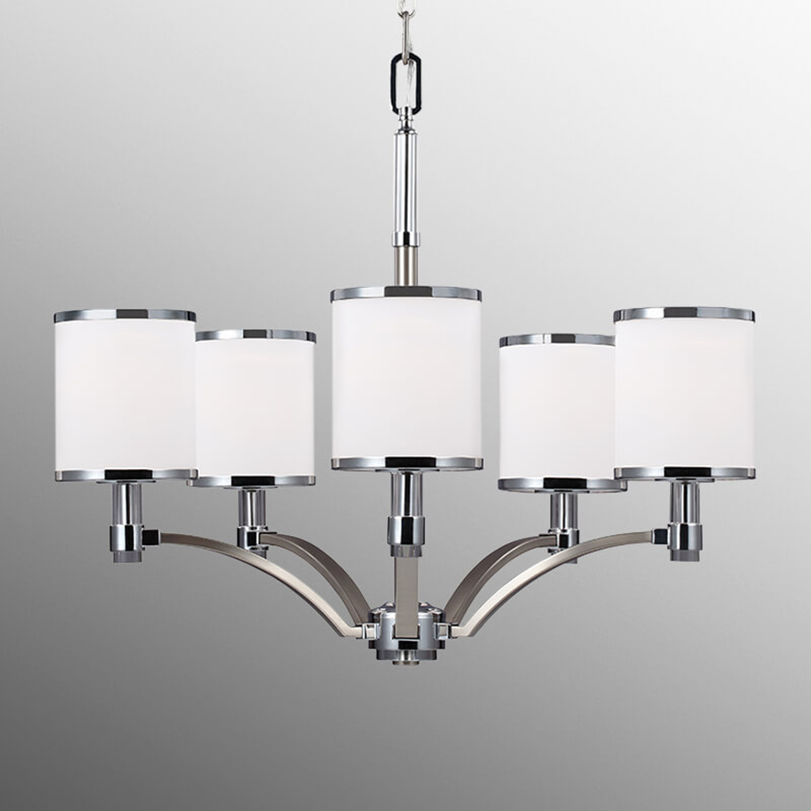 Mauro chandelier with Scavo glass, 5 bulb