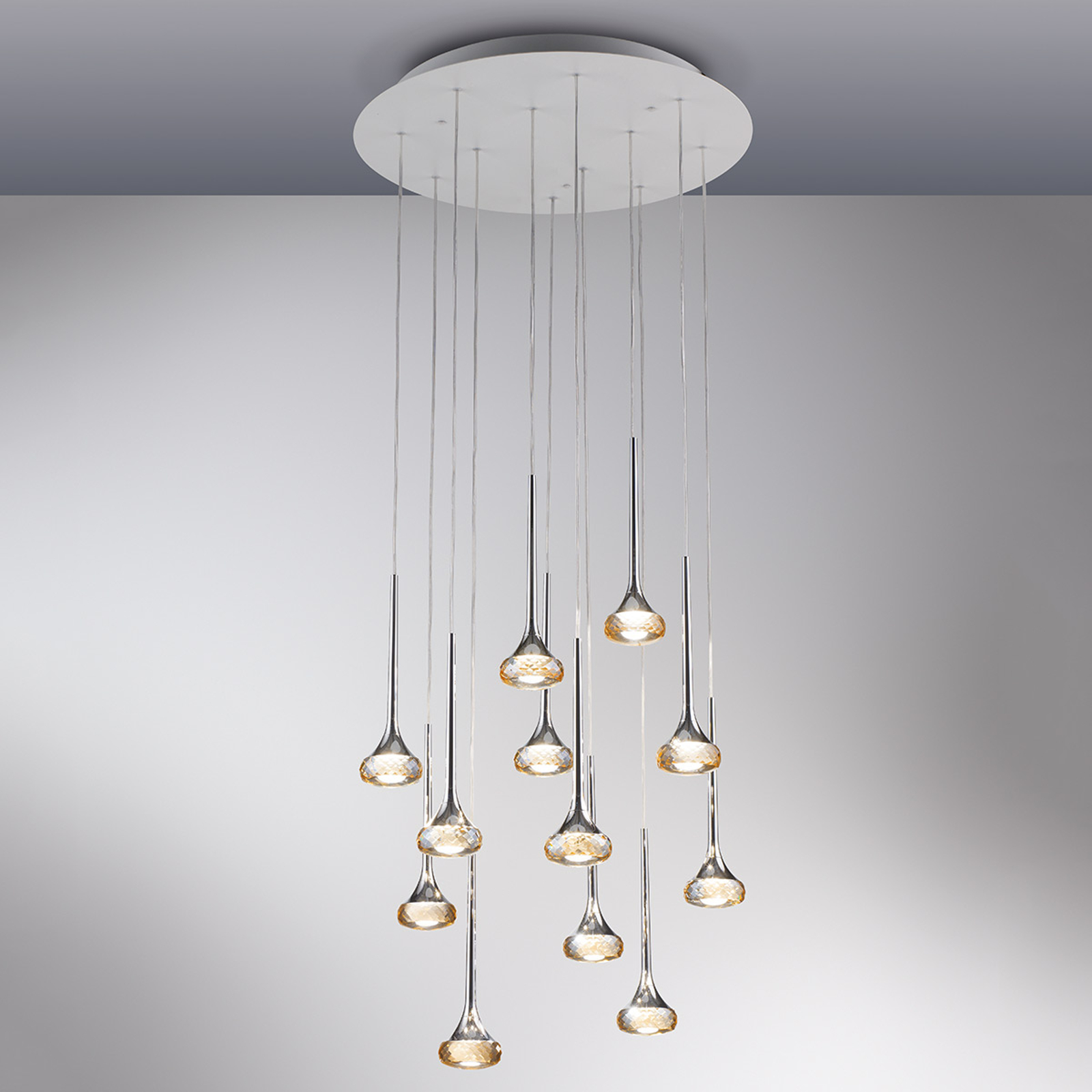 Suspension LED à 12 lampes Fairy, ambre