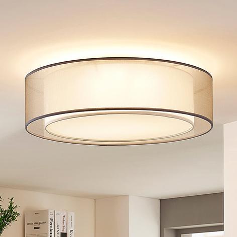 Textilní stropní lampa Amon, stmívatelná, šedá