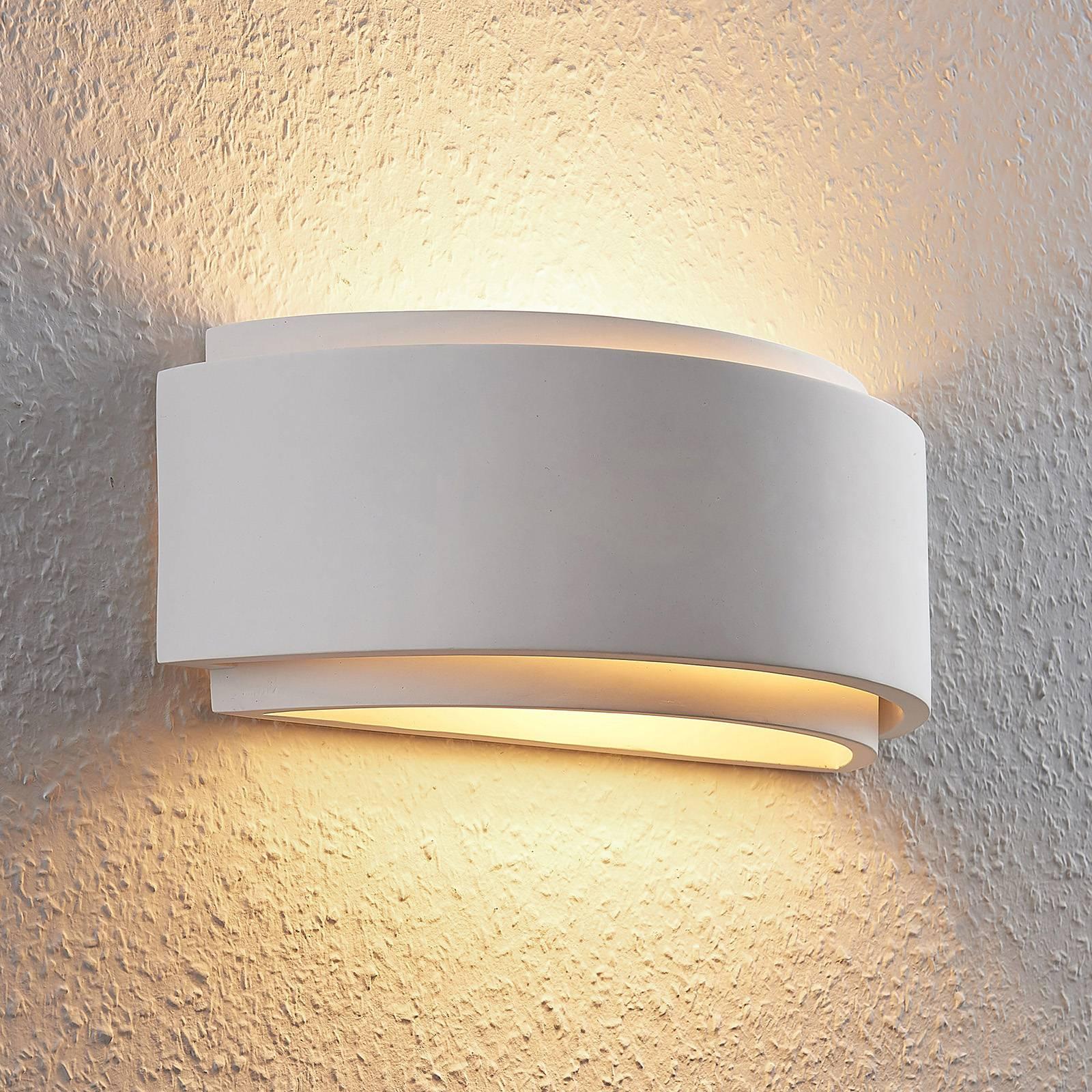 Gips wandlamp Cassian, tweevoudig, halfrond
