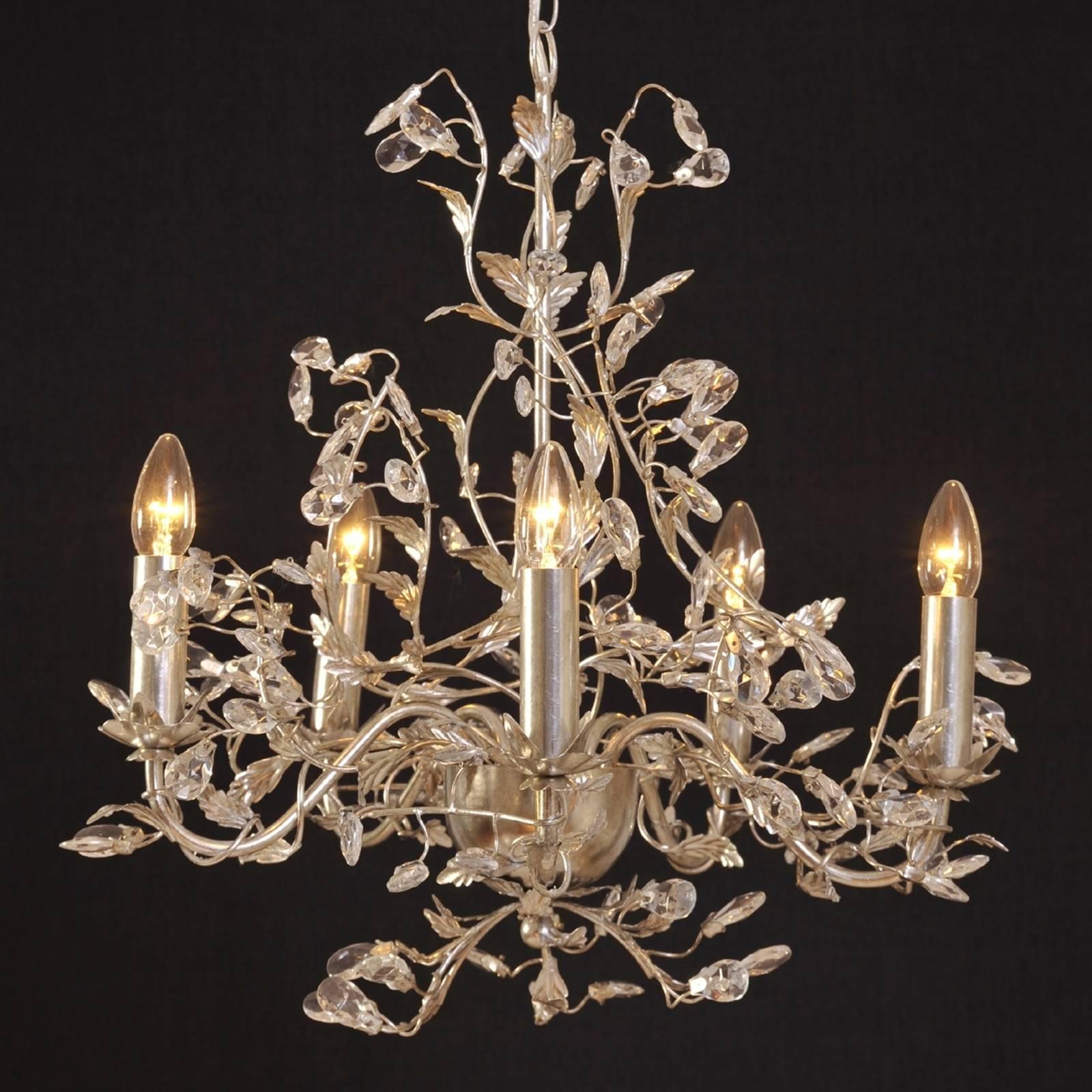Exclusieve kroonluchter Buono 5-lichts zilver
