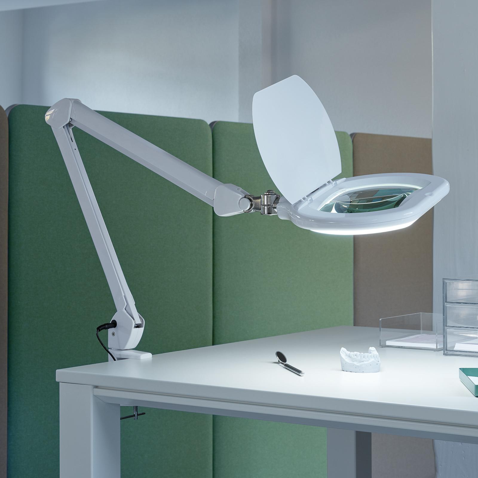 Lampa z lupą LED MAULcrystal, zacisk, ściemniana