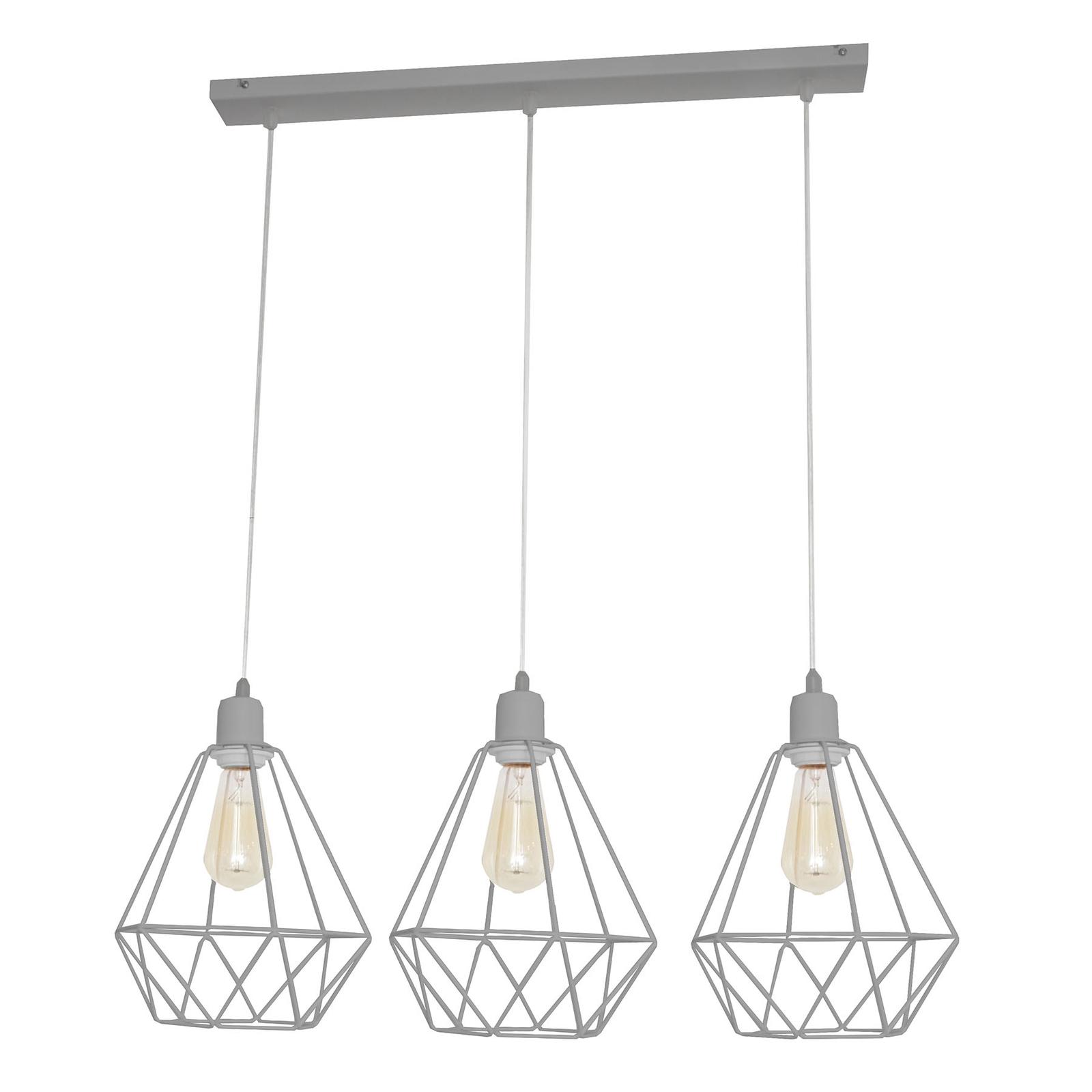 Suspension Karo à 3 lampes allongée grise