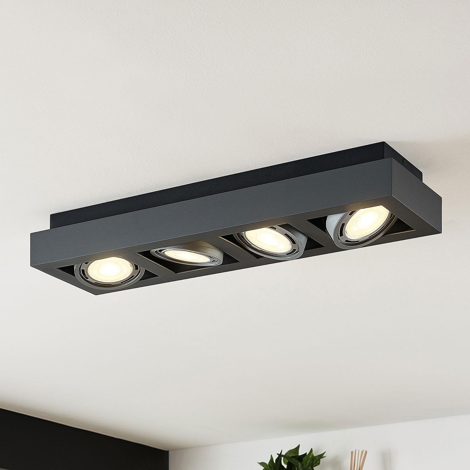 Spot plafond LED Ronka, 4lampes, allongé, gris