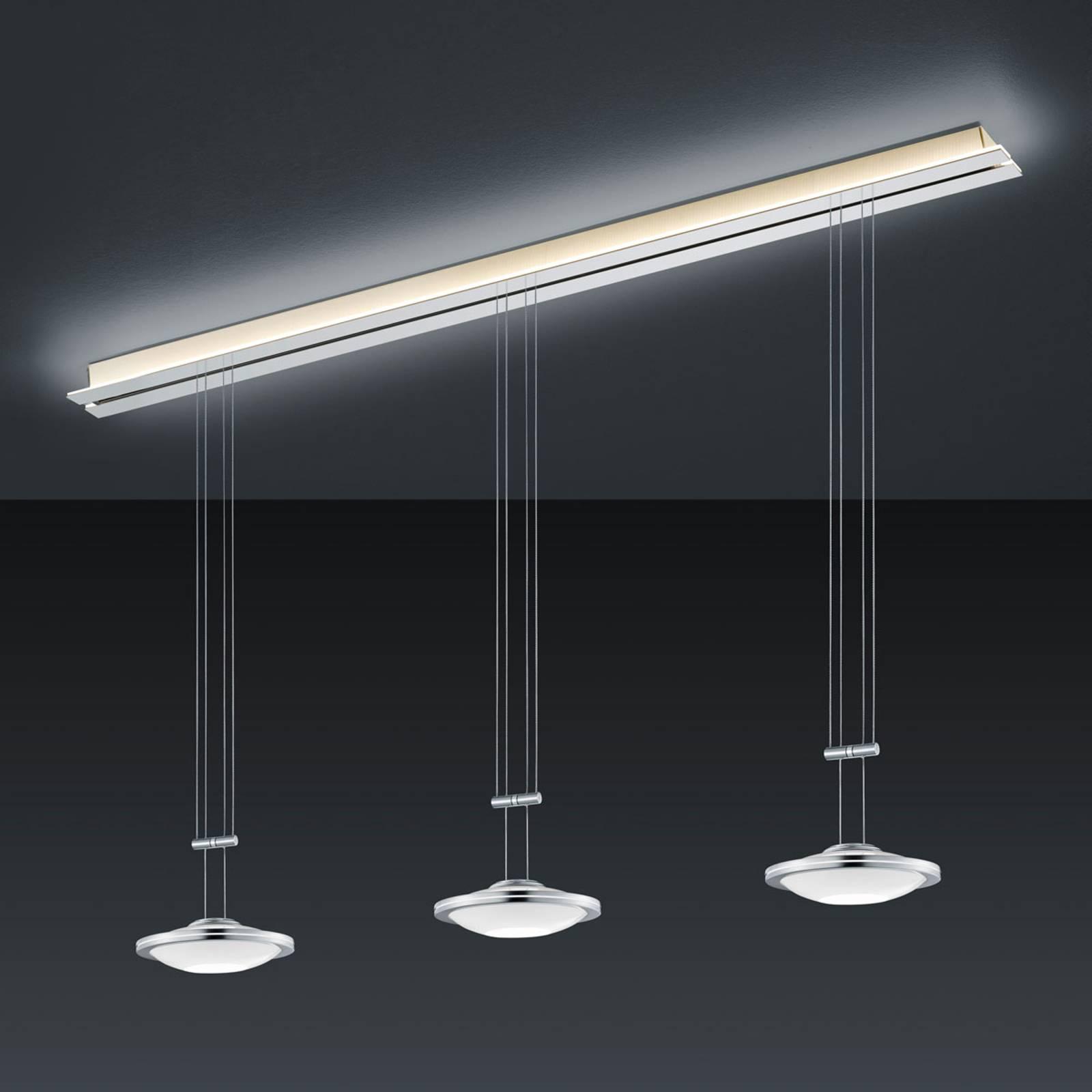 BANKAMP Strada Saturno hanglamp, 3 lampjes, 155 cm