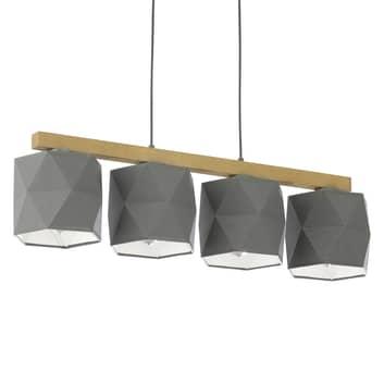 Fano hængelampe, træ og stof, 4 lyskilder