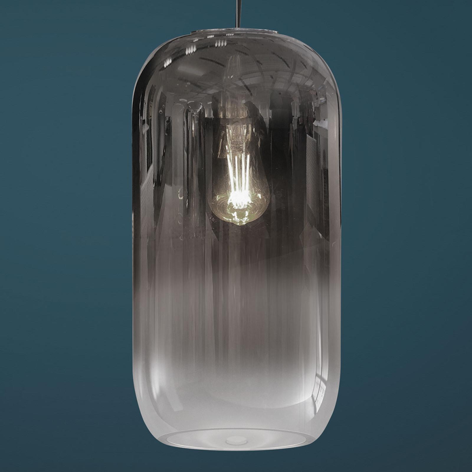 Artemide Gople Glas-Pendelleuchte, silber