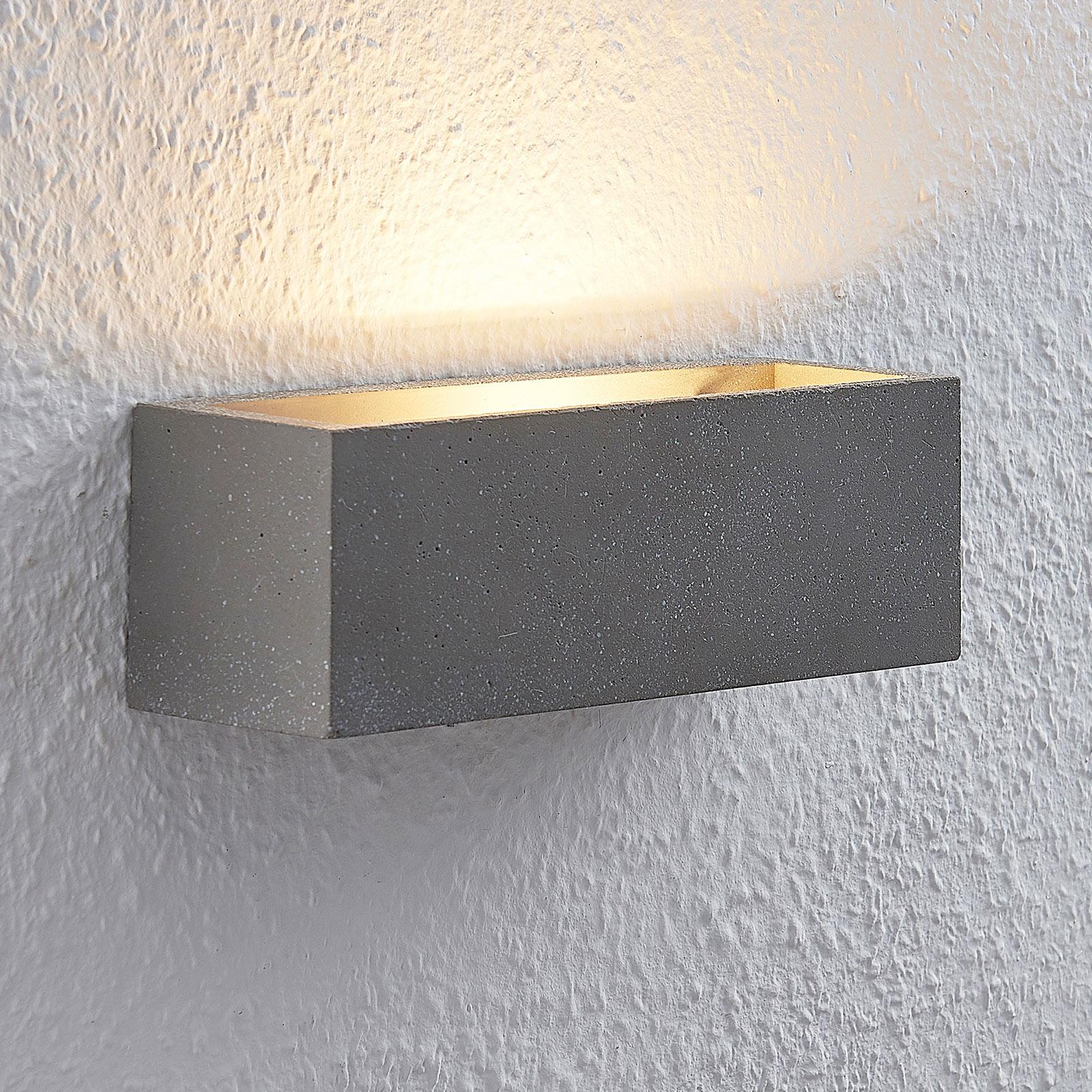 Lindby Selma LED nástěnné světlo, beton, hranaté