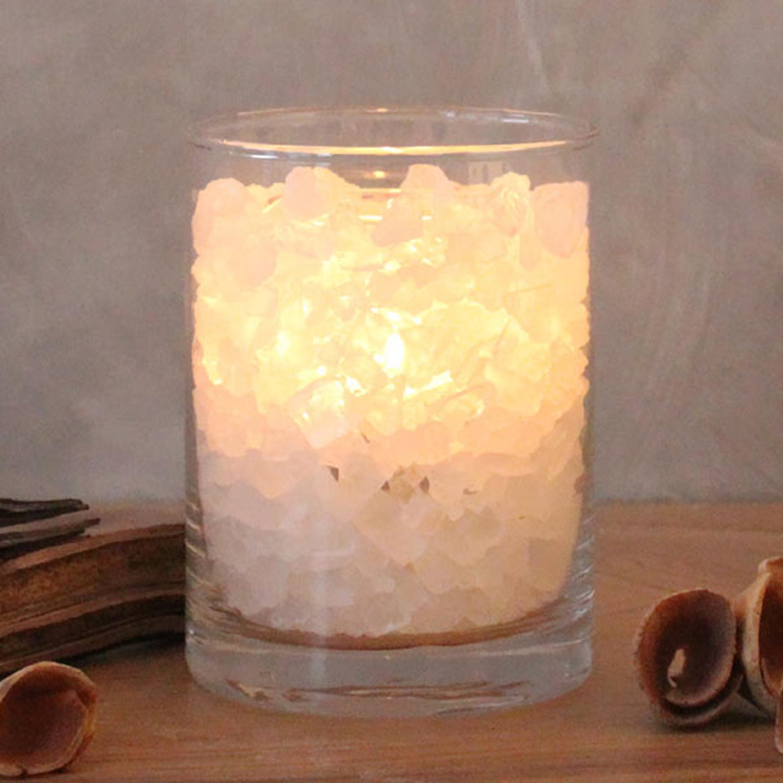 Polarild i glas, saltkrystal, med palmestearinlys