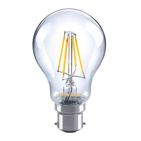 B22 4W 827 LED filament lamp, helder