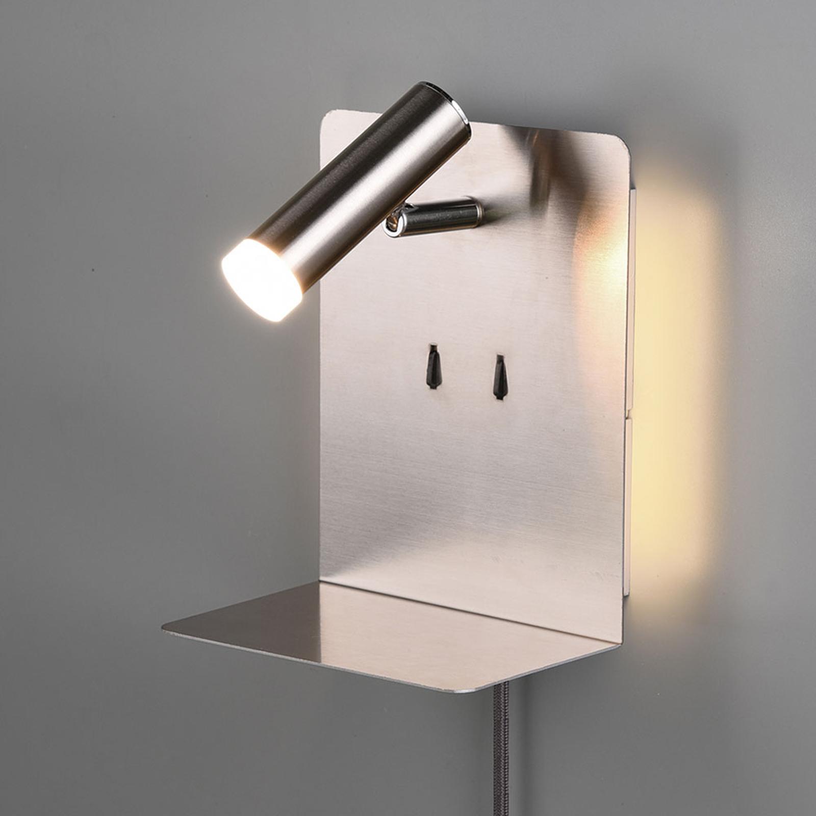 LED-Wandlampe Element mit Ablage nickel matt
