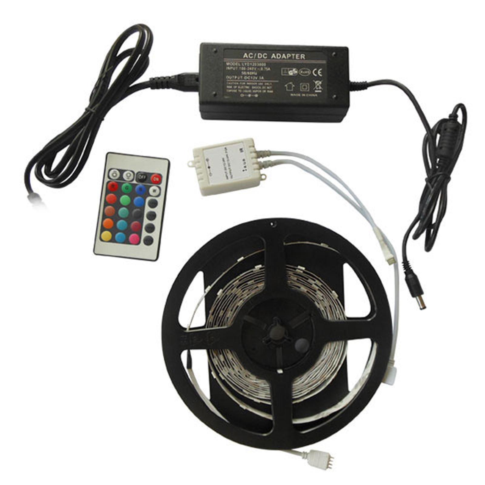 SMD-RGB0-005 LED-strip, 5 meter, komplet sæt