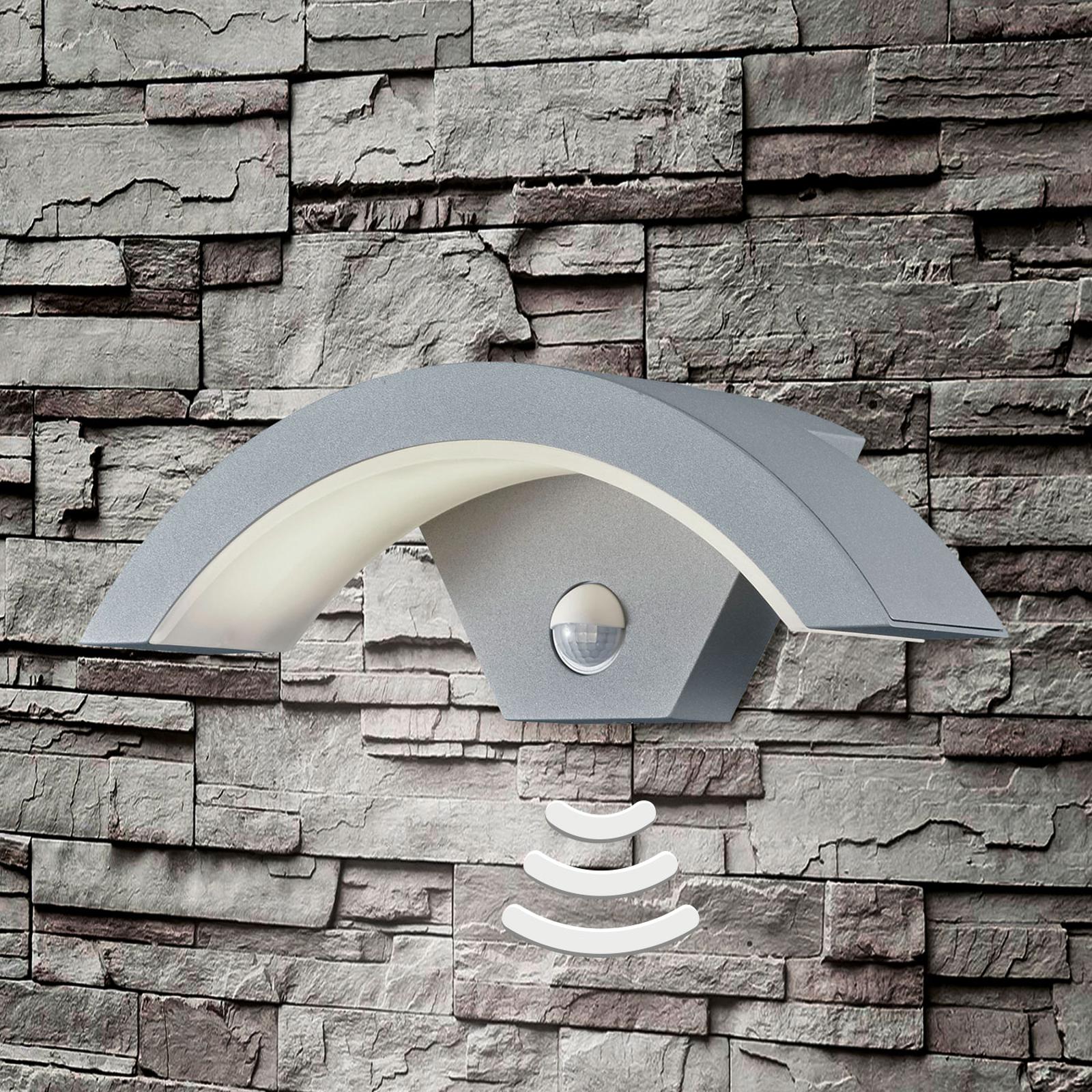 Titanfarbige LED-Außenwandleuchte Ohio m. Sensor