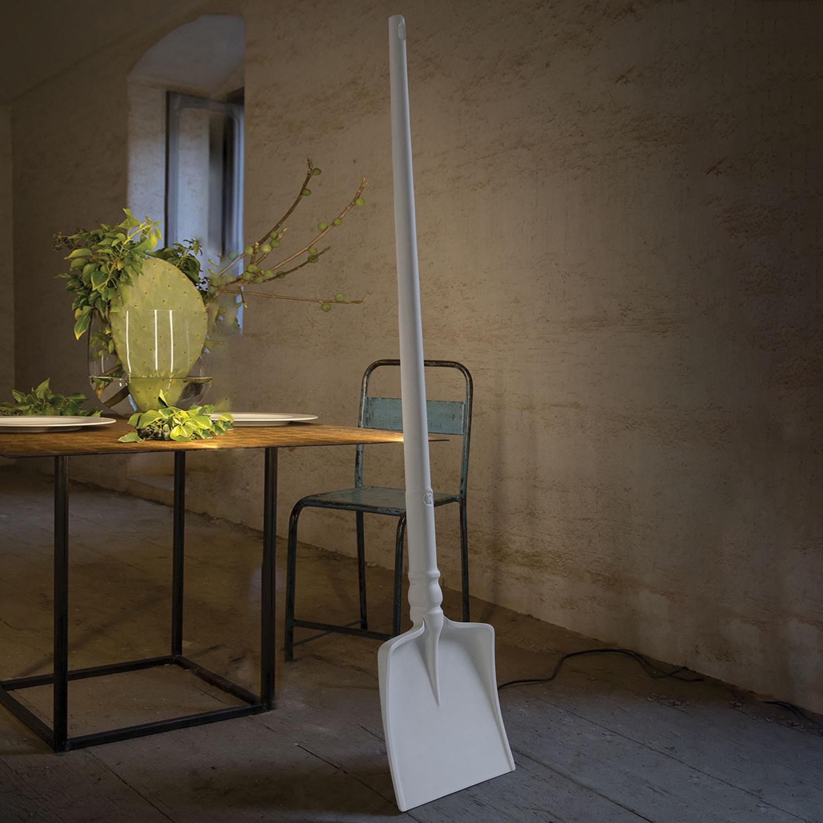 Designerska lampa stojąca LED Tobia, jak łopata