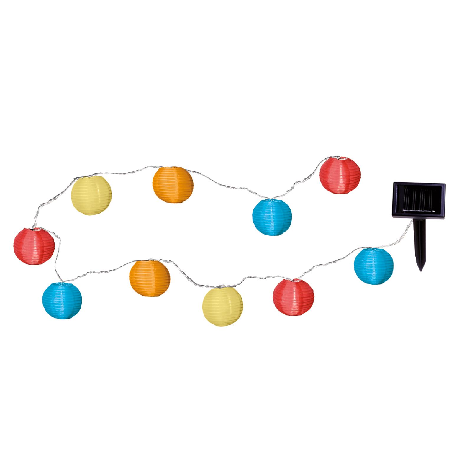 Solcelledrevet LED-lyslenke med 10 fargede lykter