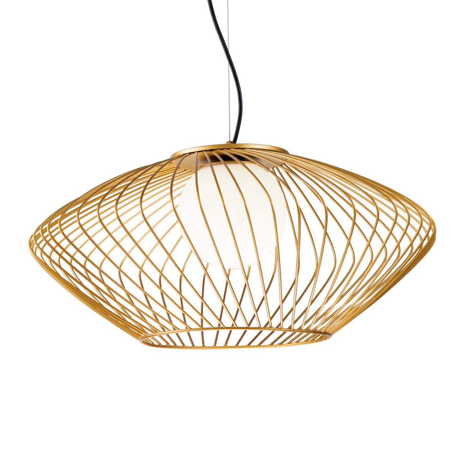 lampa wisząca Plec z kloszem klatkowym złotym