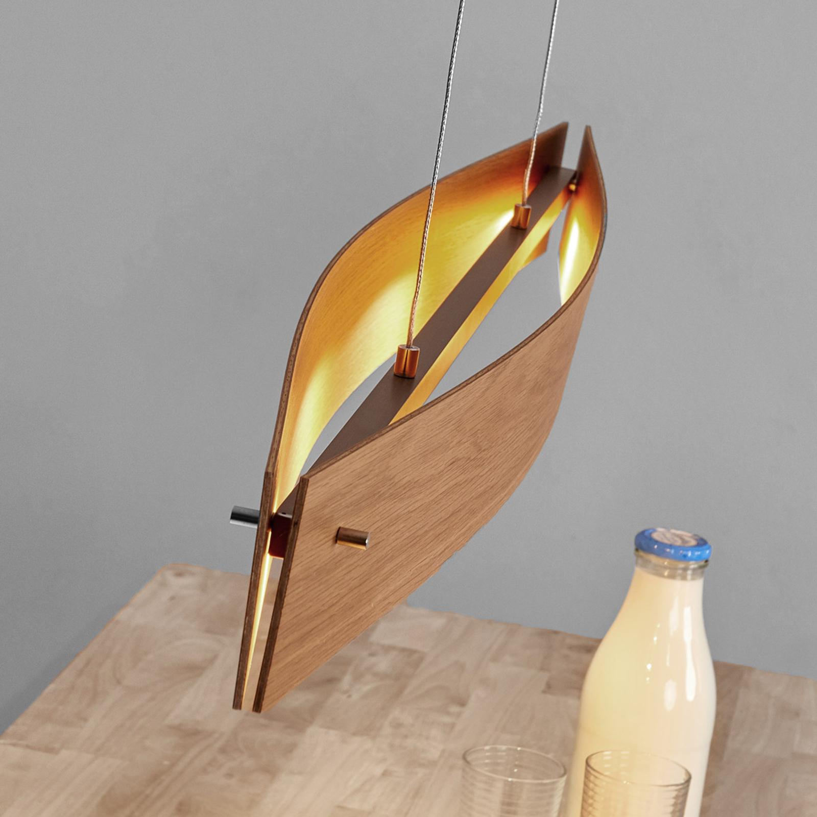 Naturalny dąb - lampa wisząca LED MALU z drewna