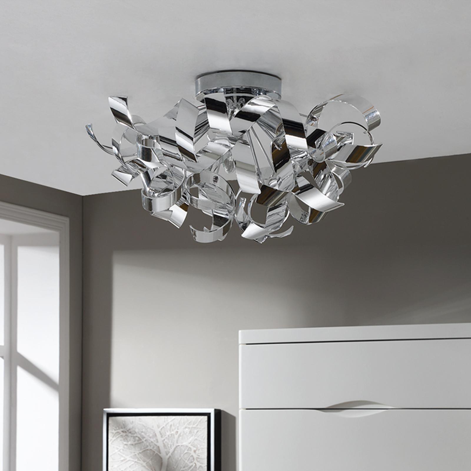 Piękna chromowa lampa sufitowa Elviro