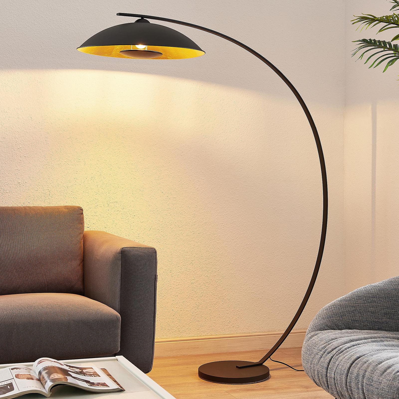 Lindby Emilienne lampa łukowa stojąca czarno-złota