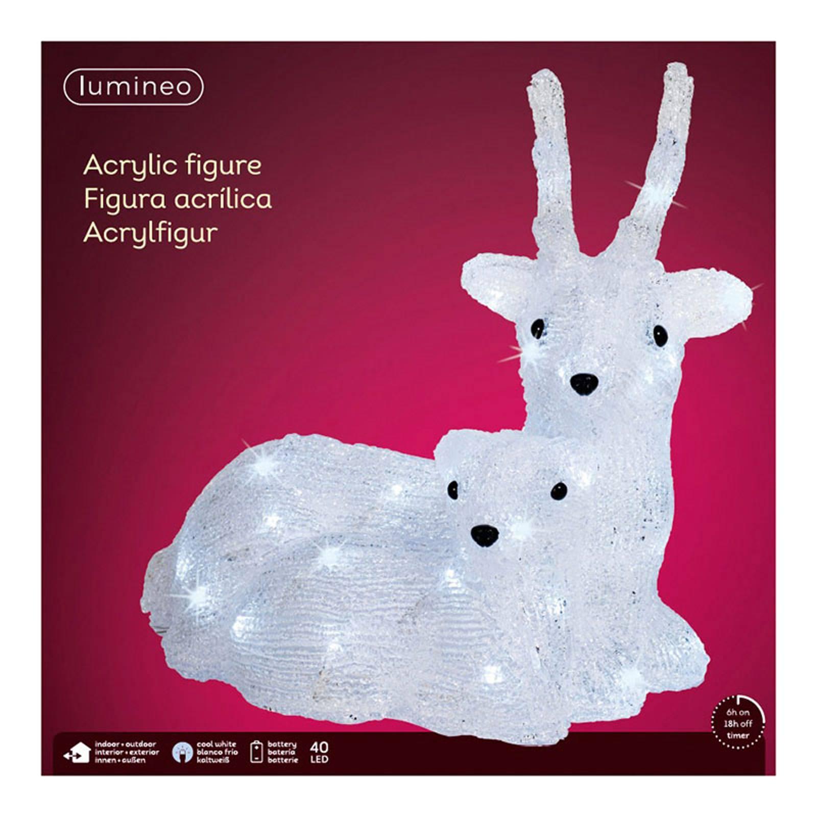 "*Merry X-Mas*: LED-Leuchtfigur ""Ricke mit Kitz"" aus Acryl (Kopie) Lampenwelt"